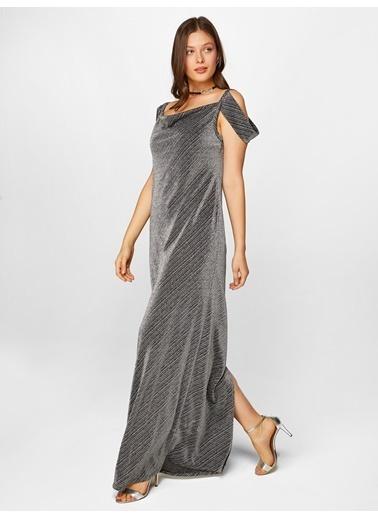Faik Sönmez  Simli Maxi Abiye Elbise 60116 Gümüş
